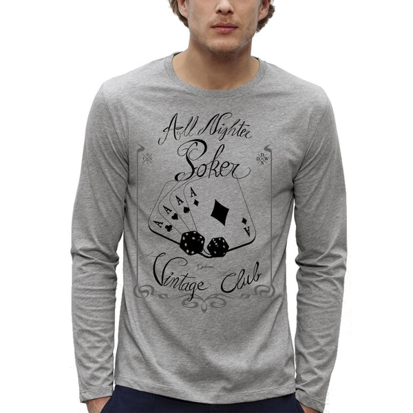 T-shirt Imprimé Bio ML Gris Homme / Organic Graphic Tee LS Grey Men - Poker addict Vintage - ArteCita Positive Lifestyle Mode Bio et Objets de déco