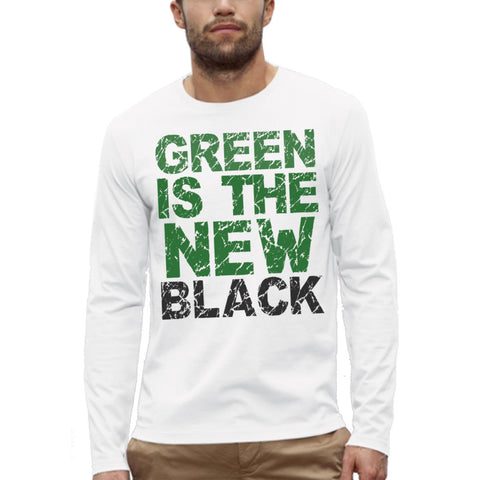 T-shirt Imprimé Bio ML Homme / Organic Graphic Tee LS Men - Green is the new black - ArteCita Positive Lifestyle Mode Bio et Objets de déco