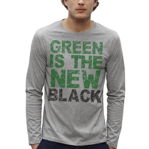 T-shirt Imprimé Gris BIO ML Homme / Grey Organic Graphic Tee LS Men - Green is the new black - ArteCita Positive Lifestyle Mode Bio et Objets de déco