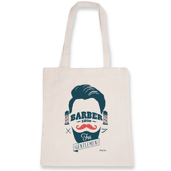 Tote Bag Bio Imprimé - Barber Shop for Gentlemen - ArteCita Positive Lifestyle Mode Bio et Objets de déco