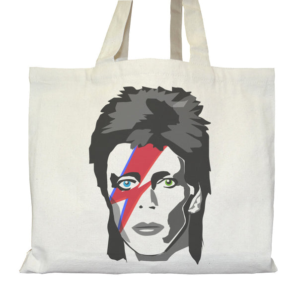 Tote bag Bio Urbain Cartable avec Poches intérieures Graphic Organic Street Tote Bag Internal pockets - David Bowie Major Tom - ArteCita Positive Lifestyle Mode Bio et Objets de déco
