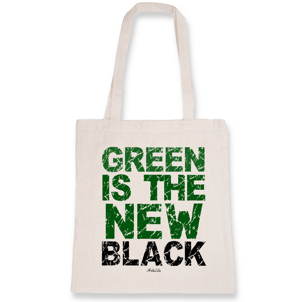 Tote Bag Bio Imprimé - Green Is The New Black - ArteCita Positive Lifestyle Mode Bio et Objets de déco