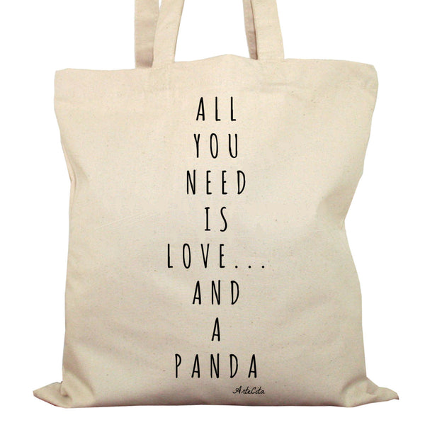 Tote Bag Imprimé Bio en Toile / Raw Canvas Graphic Totebag - All you need is love and a panda - ArteCita Positive Lifestyle Mode Bio et Objets de déco