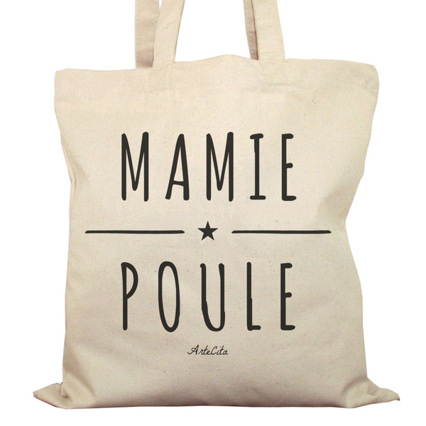 Tote Bag Imprimé Bio en Toile / Raw Canvas Graphic Totebag - Mamie Poule - ArteCita Positive Lifestyle Mode Bio et Objets de déco