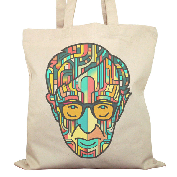 Tote Bag Imprimé Bio en Toile / Raw Canvas Graphic Totebag - Woody Allen - ArteCita Positive Lifestyle Mode Bio et Objets de déco