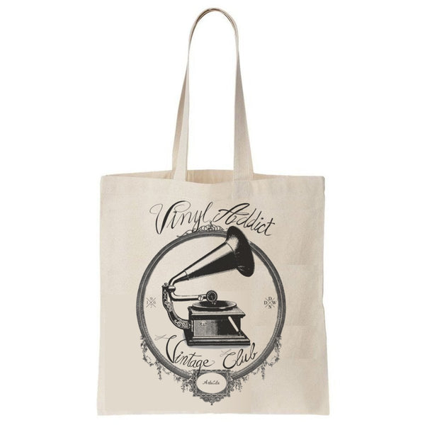 Tote Bag Imprimé Bio Toile écru / Organic Canvas Graphic Tote Bag - Vinyl addict - ArteCita Positive Lifestyle Mode Bio et Objets de déco