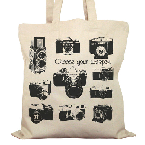 Tote Bag Imprimé Bio Toile écru / Raw Canvas Graphic Totebag - Appareils photo vintage - ArteCita Positive Lifestyle Mode Bio et Objets de déco