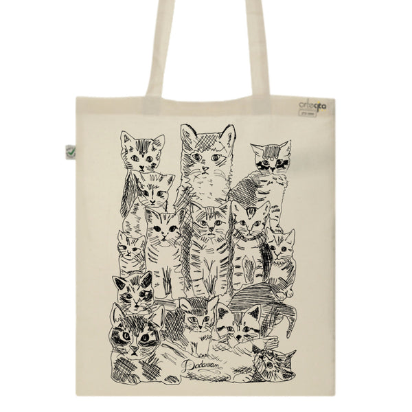 Tote Bag Imprimé Bio Toile écru / Raw Canvas Graphic Totebag - Chats - ArteCita Positive Lifestyle Mode Bio et Objets de déco