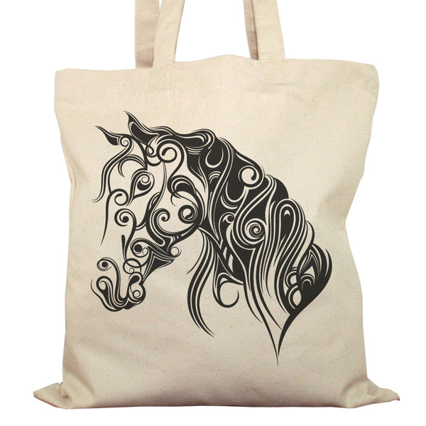 Tote Bag Imprimé Bio Toile Ecru / Raw Canvas Graphic Totebag - Cheval stylisé - ArteCita Positive Lifestyle Mode Bio et Objets de déco