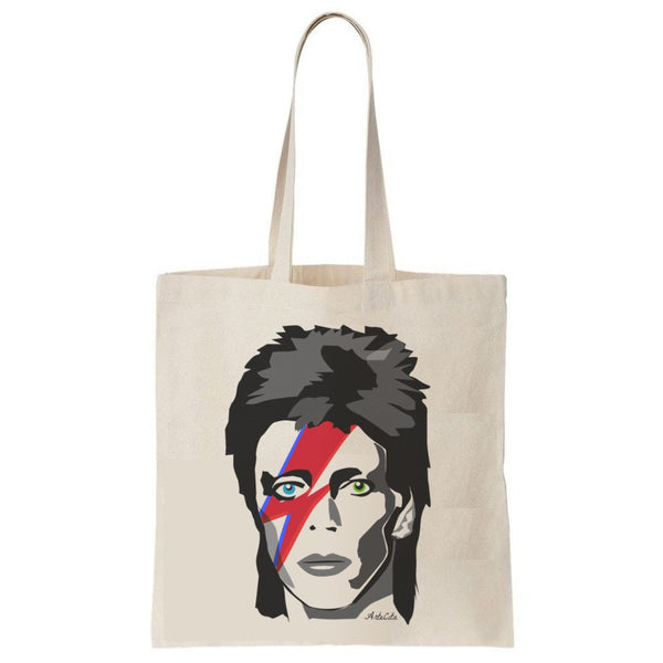 Tote Bag Imprimé Bio Toile écru / Raw Canvas Graphic Totebag - David Bowie Major Tom - ArteCita Positive Lifestyle Mode Bio et Objets de déco