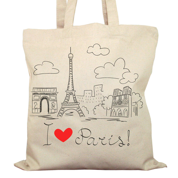 Tote Bag Imprimé Bio Toile Ecru / Raw Canvas Graphic Totebag - I love Paris - ArteCita Positive Lifestyle Mode Bio et Objets de déco