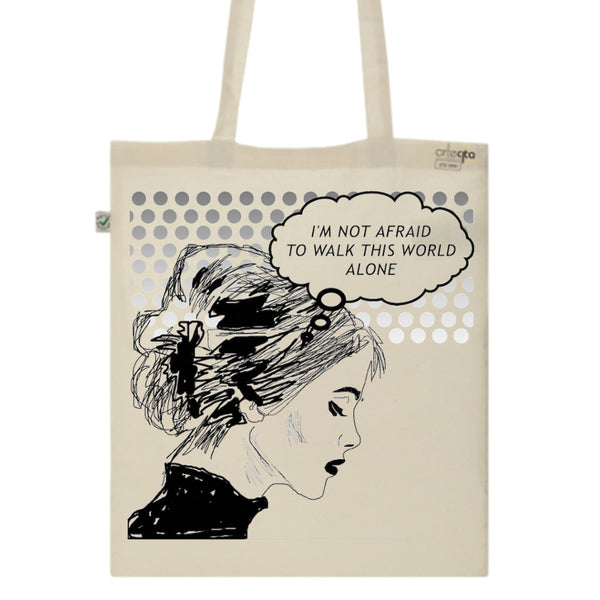 Tote Bag Imprimé Bio Toile écru / Raw Canvas Graphic Totebag - I'm not afraid - ArteCita Positive Lifestyle Mode Bio et Objets de déco