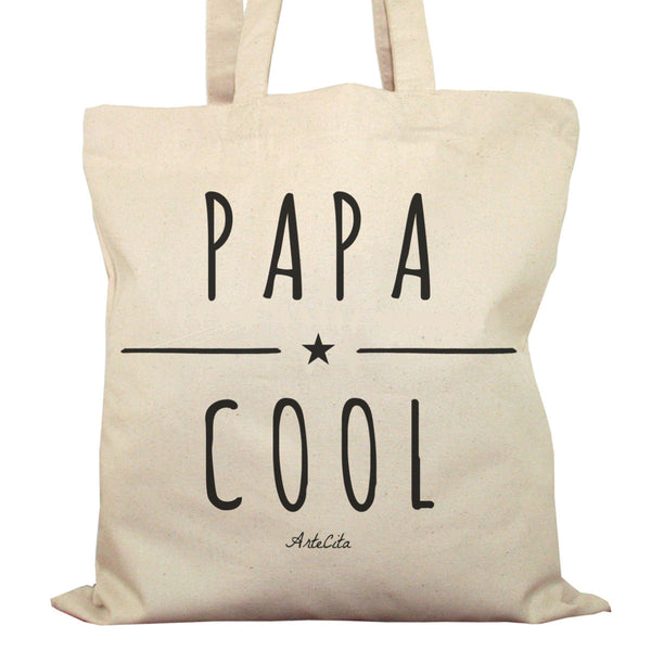 Tote Bag Imprimé Bio Toile Ecru / Raw Canvas Graphic Totebag - Papa Cool - ArteCita Positive Lifestyle Mode Bio et Objets de déco