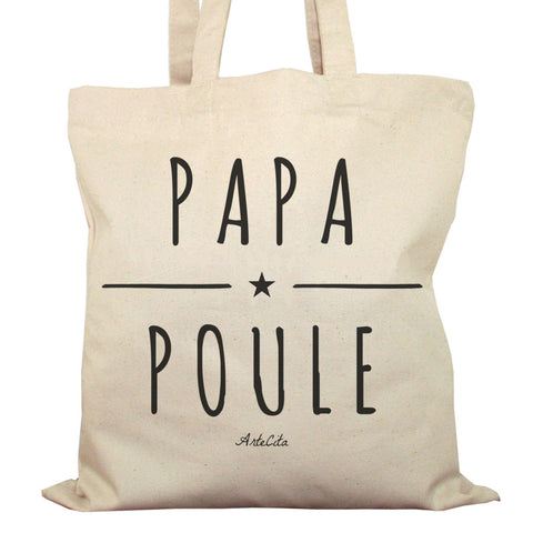 Tote Bag Imprimé Bio Toile Ecru / Raw Canvas Graphic Totebag - Papa Poule - ArteCita Positive Lifestyle Mode Bio et Objets de déco