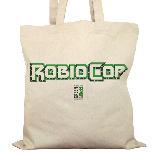 Tote Bag Imprimé Bio Toile Ecru / Raw Canvas Graphic Totebag - Robiocop - ArteCita Positive Lifestyle Mode Bio et Objets de déco