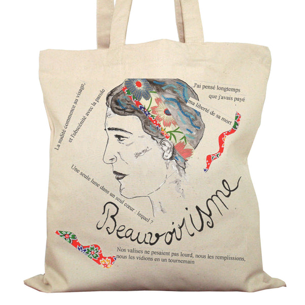 Tote Bag Imprimé Bio Toile écru / Raw Canvas Graphic Totebag - Simone de Beauvoir - ArteCita Positive Lifestyle Mode Bio et Objets de déco