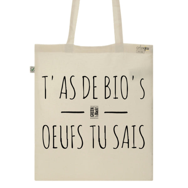 Tote Bag Imprimé Bio Toile Ecru / Raw Canvas Graphic Totebag - T'as de BIO's oeufs tu sais - ArteCita Positive Lifestyle Mode Bio et Objets de déco