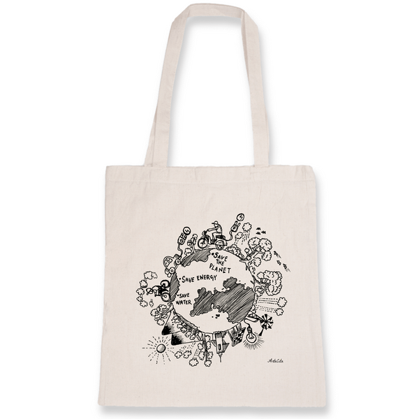 Tote Bag Bio Imprimé - Save the planet - ArteCita Positive Lifestyle Mode Bio et Objets de déco