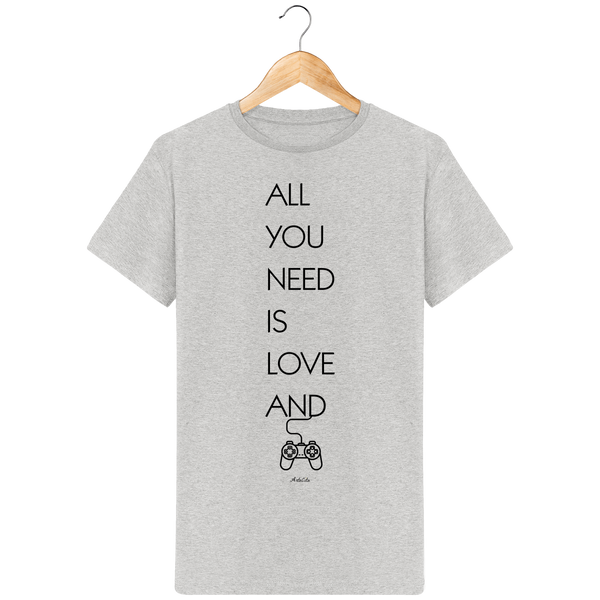 Tshirt Bio Homme - All you need is Love and Video games - ArteCita Positive Lifestyle Mode Bio et Objets de déco