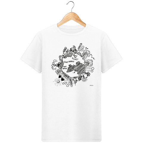 Tshirt Bio Homme - Save the Planet - ArteCita Positive Lifestyle Mode Bio et Objets de déco