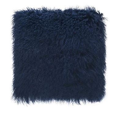 Tibetan Fur Navy Cushion Medium
