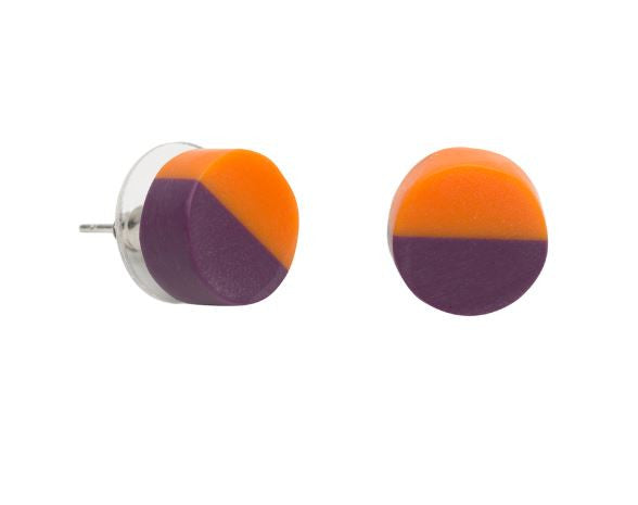 Wonderland 2 Tone Stud Earrings Tangerine Purple