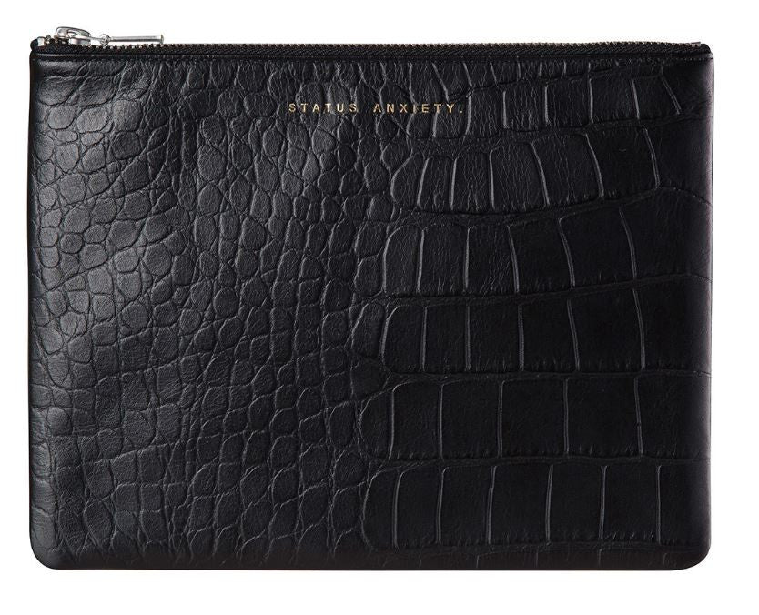 Anti-Heroine Clutch Black Croc Embo