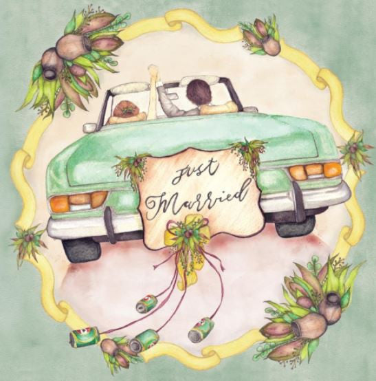 Greeting Card Just Married Australiana