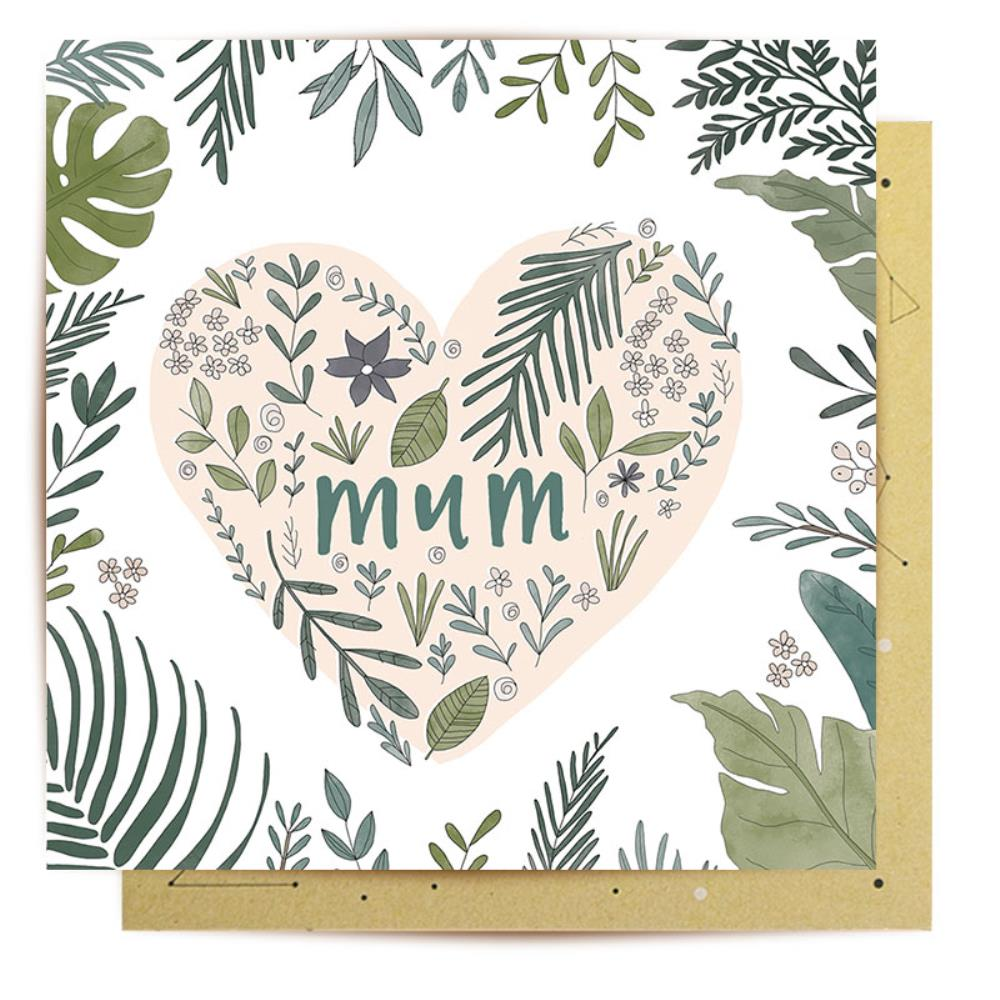 Greeting Card Tropical Heart Mum