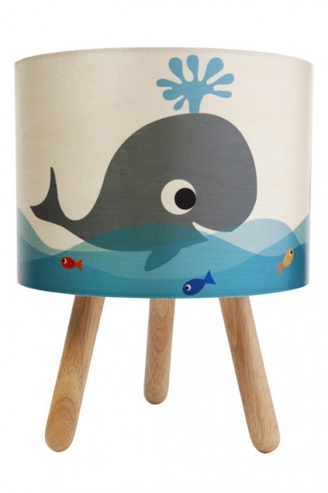 Whale Print Timber Lamp