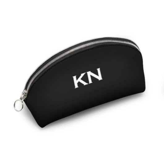 Personalised Genuine Luxury Nappa Leather Cosmetic Bag Black