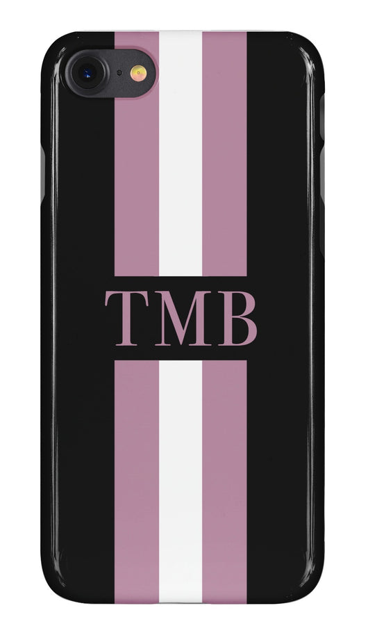 Black Initialed Case with Purple and White Stripe