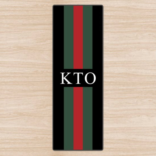 Personalised Yoga Mat Black with Red and Green Striped Initials