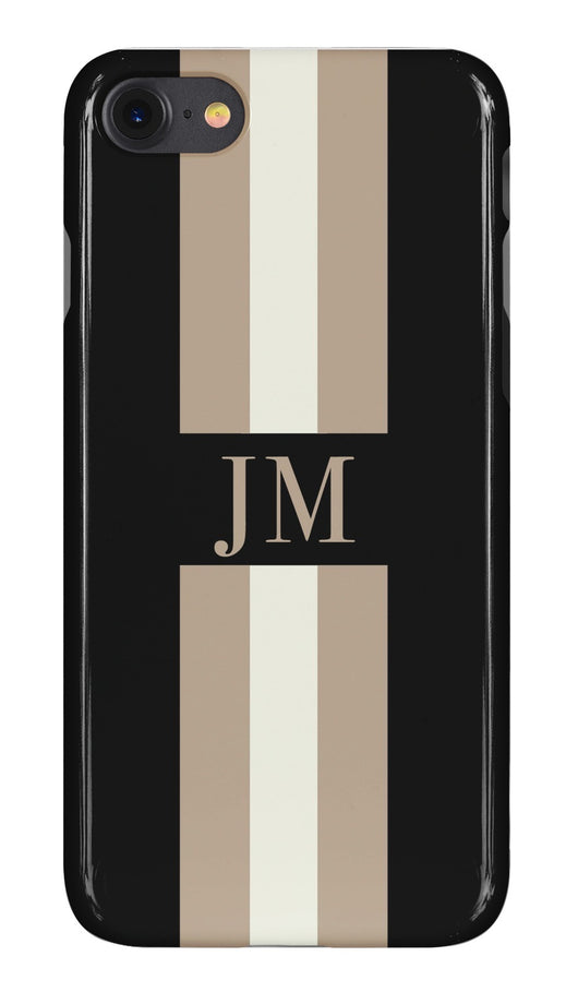 Black Initialed Case with Beige and Fawn Stripe