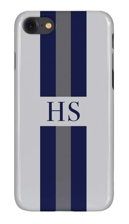 Smoke Grey Initialed Case with Navy and Contrasting Grey Stripe