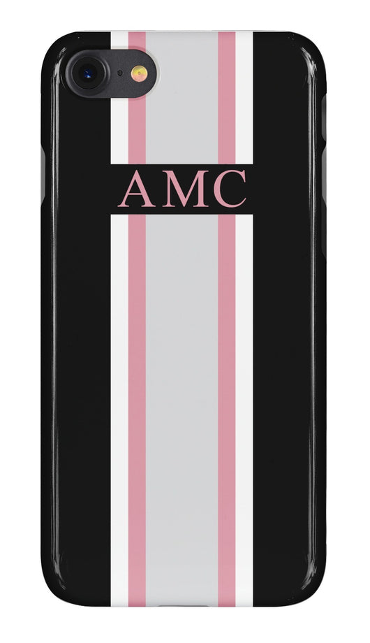 Midnight Black Initialed Case with Grey, Pink and White Stripe