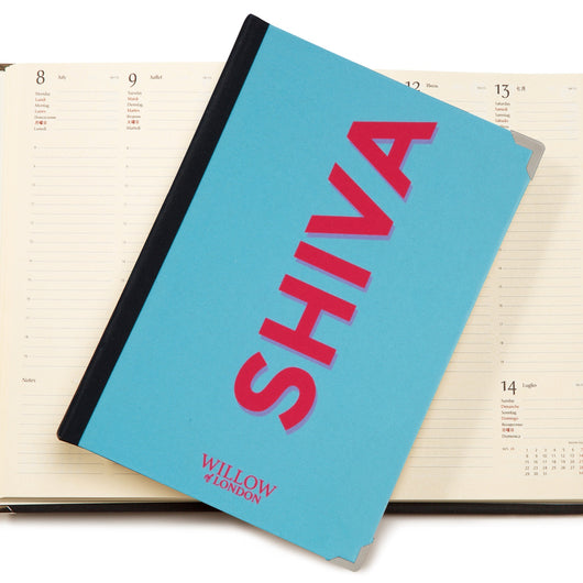 Personalised 2019 Diary Bright Blue with with Hot Pink Side Initials Handbound in London