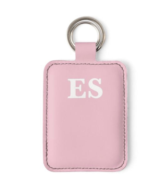 Personalised Luxury Nappa Leather Keyring. Pink