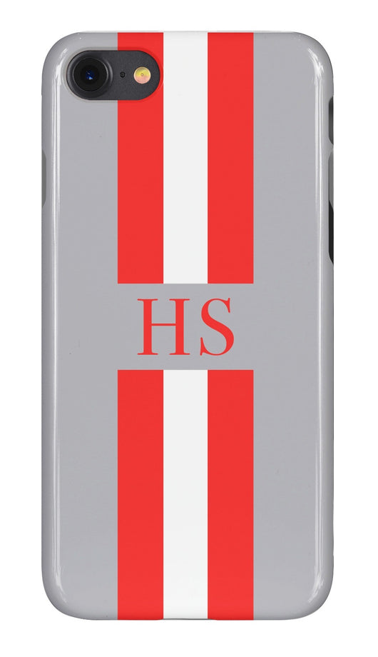 Smoke Grey Initialed Case with Orange White and Contrasting Grey Stripe