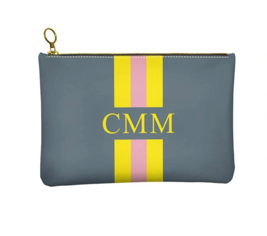 Personalised Genuine Nappa Leather Clutch - Cosmetic Bag Grey with Yellow and Pink Stripes