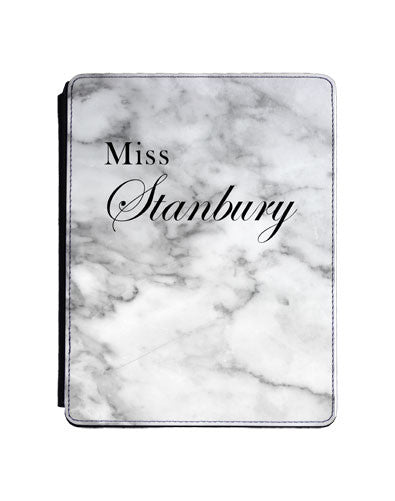 White marble ' Miss ' with full surname and Copperplate style font
