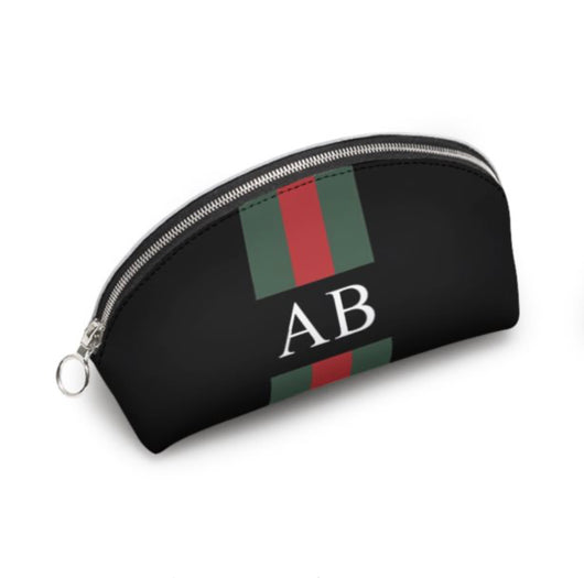 Personalised Genuine Luxury Nappa Leather Cosmetic Bag Black Striped