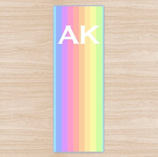 Personalised Yoga Mat Rainbow Design with Initials