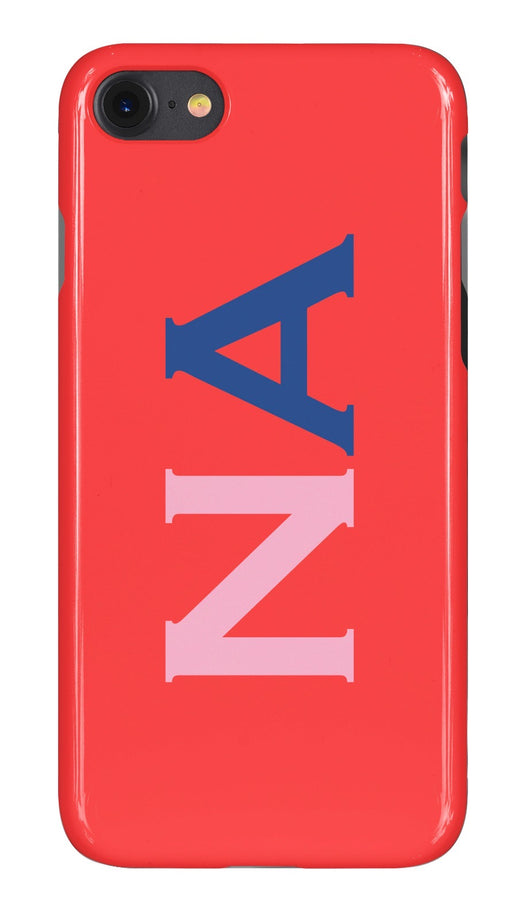 Gloss Red with Pink and Navy Blue Initials