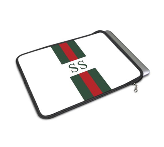 Personalised Luxury Macbook Pouch in White with Stripes