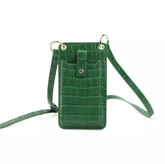 Genuine Leather Alligator Crossbody Phone Pouch Green