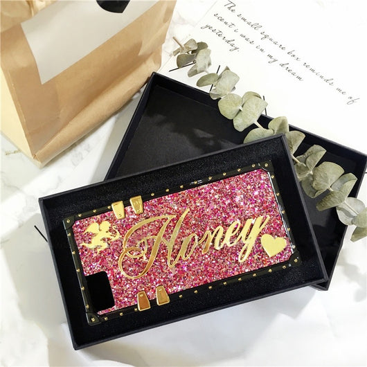 Personalised Glitter Trunk Style Case Rose with Gold