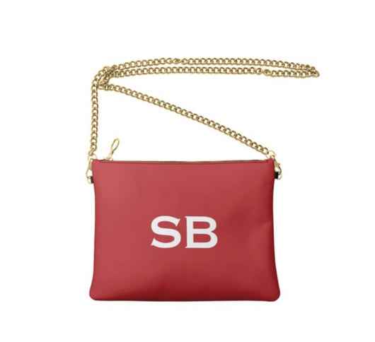 Personalised Luxury Nappa Leather Crossbody Bag Red