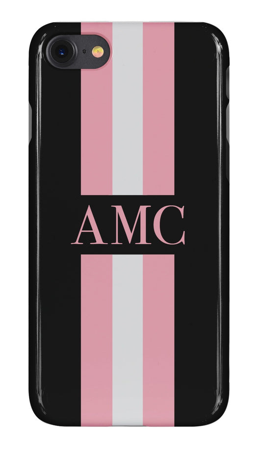 Black Initialed Case with Pink and Contrasting Grey Stripe