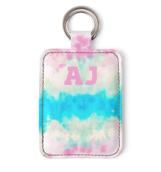 Personalised Luxury Nappa Leather Keyring. Tie Dye
